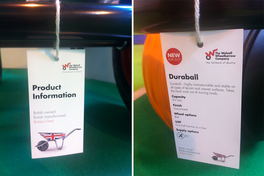 The Walsall Wheelbarrow Company at GLEE 2016 product information labels