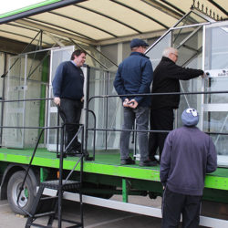 Eden Greenhouses dealership roadshow lorry curtain side up