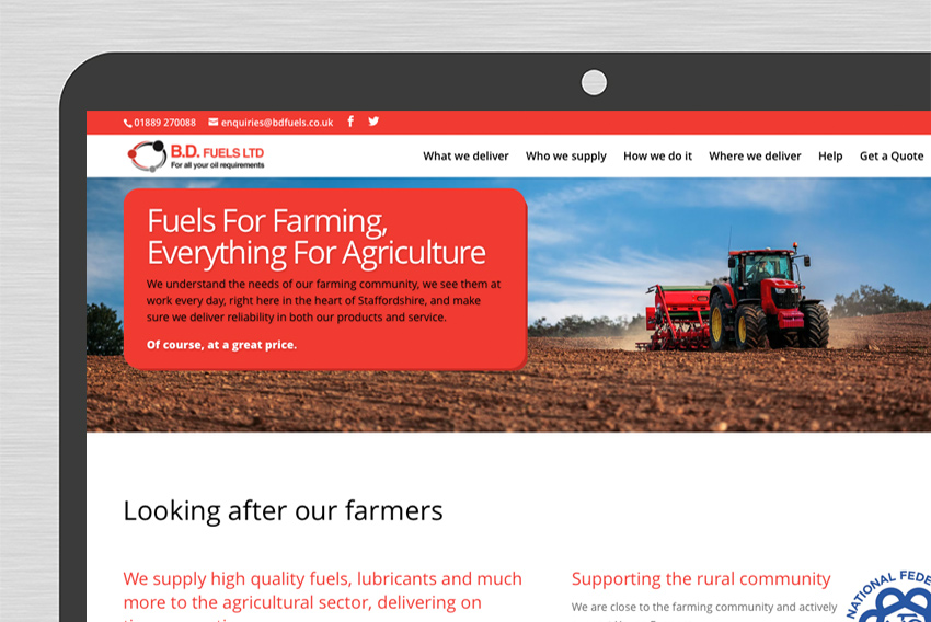 BD Fuels website on desktop screen