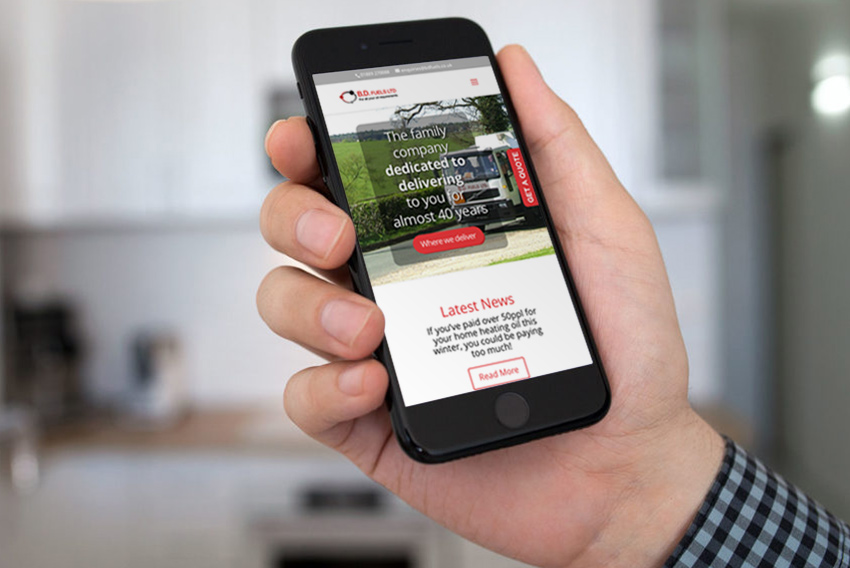 BD Fuels website on mobile phone screen