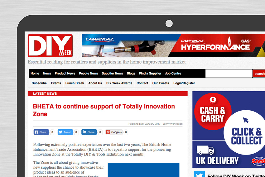 BHETA news DIY week website desktop close up
