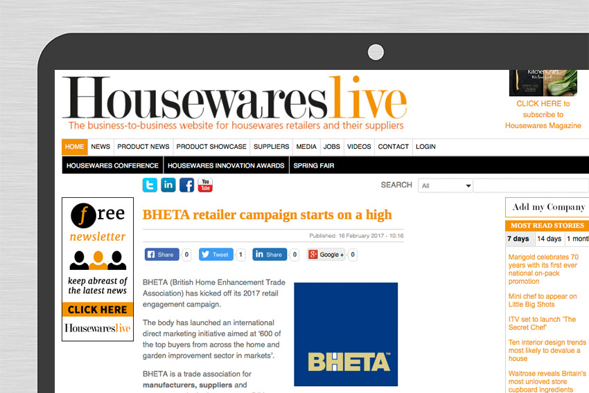 BHETA news housewareslive website desktop close up