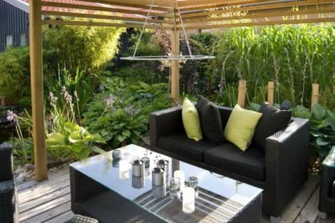 Garden furniture accessorised with housewares