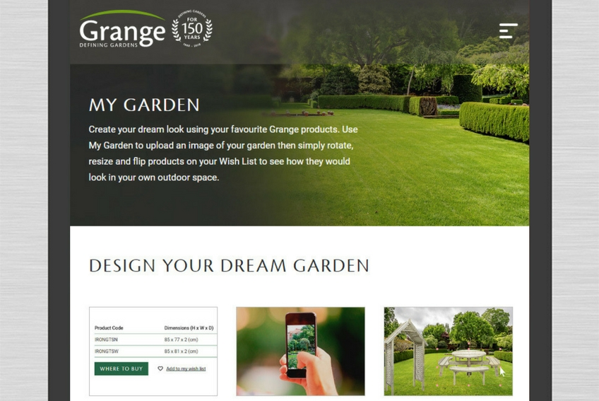 Grange new website tablet close up