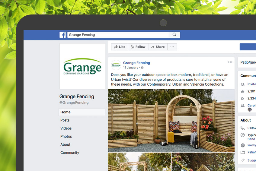 Grange Facebook page close up on a laptop