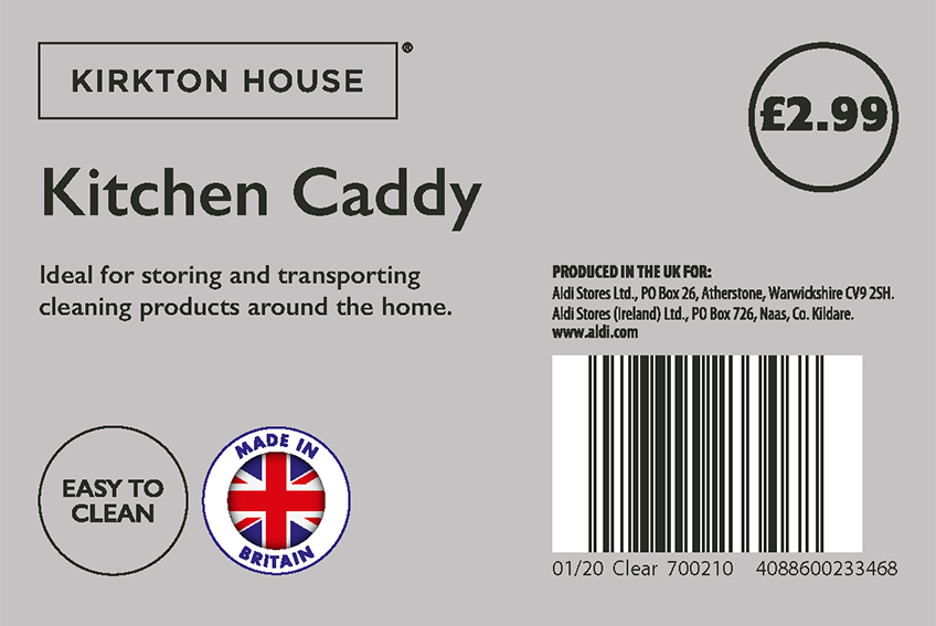 Aldi Kirkton House Kitchen Caddy Label