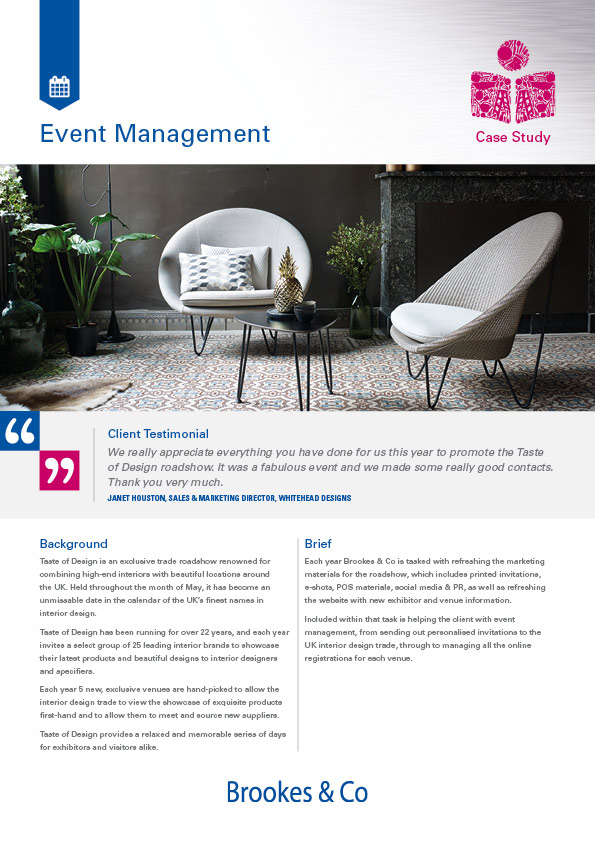 Brookes & Co Case Study, Events and Exhibitions, Taste of Design